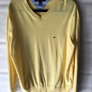 Tommy Hilfiger Pale Yellow Men's V-Neck Sweater